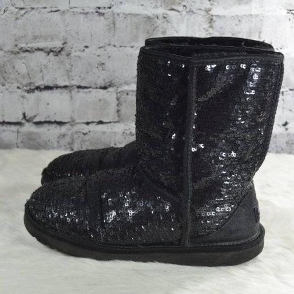 d2227b70c07 UGG 3161 Classic Short Sparkles Sequin Black Boots